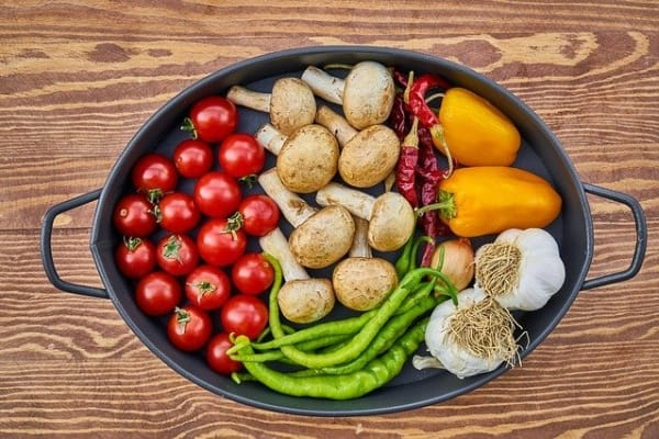 fruit and vegetables on table